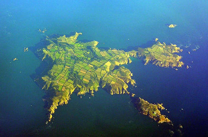 An aerial photo of Sark, Channel Islands.