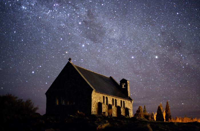 Church of the Good Shepherd at Aoraki Mackenzie International Dark Sky Reserve, New Zealand (Photo by Fraser Gunn)