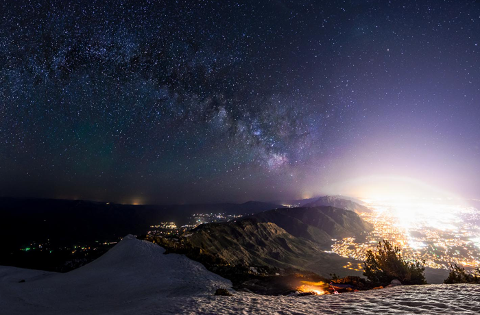 A nighttime view from the summit of Ben Lomond Mountain above Utah's North Fork Park IDA International Dark Sky Park.