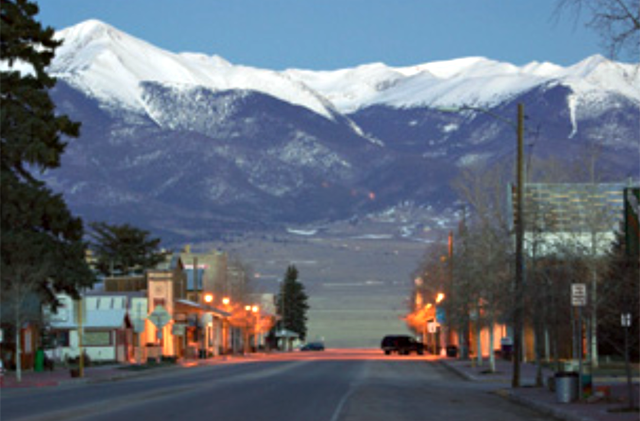 The town of Westcliffe, Colorado, backed by the Sangre de Cristo