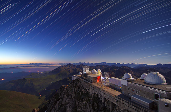 Star trails over the observatory at Pic du Midi International Dark Sky Reserve, France (Photo by Paul Compère)