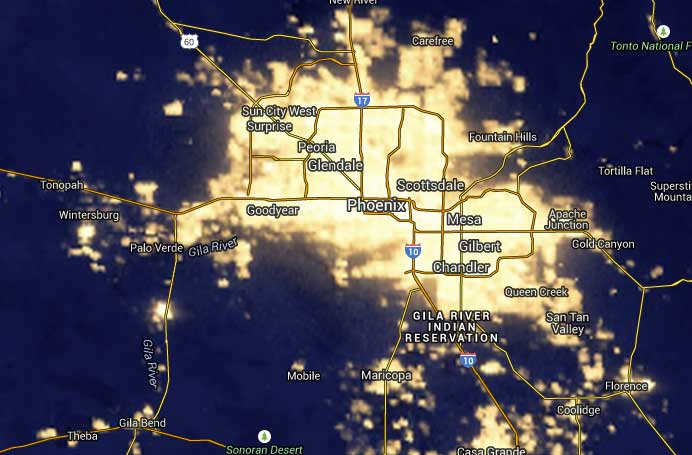 This screen shot from the NASA Blue Marble map shows the incredible amount of light coming stemming from Phoenix, Arizona