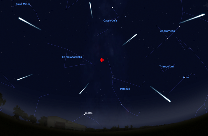 "Looking northeast around 9 PM local time on the night of 12 August. The Perseid meteors appear to ""radiate"" from the location of the red cross near the constellation Perseus. Diagram by John Barentine / IDA."