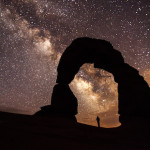Person standing under a natural arch at Arches National Park with the Milky Way over head
