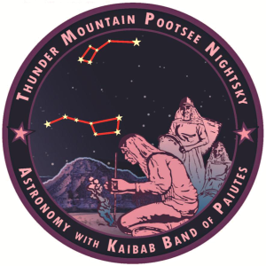This is the logo for the Thunder Mountain Pootsee Nightsky, an International Dark Sky Community consisting of the Kaibab Paiute Indian Reservation. The logo shows a drawing of three tribe members under a night sky with the big and little dippers above.