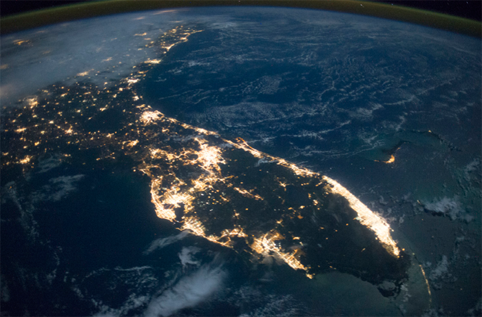 A nighttime satellite image of Florida showing excessive lighting that creates skyglow.
