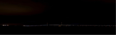 The Mackinaw Bridge in Michigan with its lights off, thanks to the Bridge Authority, for the annual Lights Off Challenge.