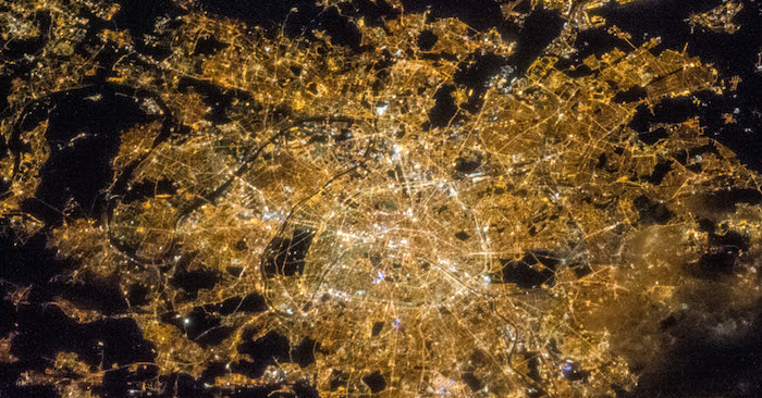 A NASA nighttime satellite image of the City of Paris showing a lot of light pollution.