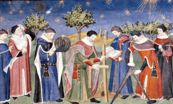 An early 15th century painting of several clerks studying astronomy and geometry against the backdrop of a starry night sky.