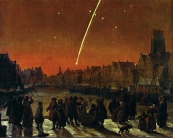 A painting of the Great Comet of 1680 Over Rotterdam depicts people outside looking at the sky that has a fireball descending.