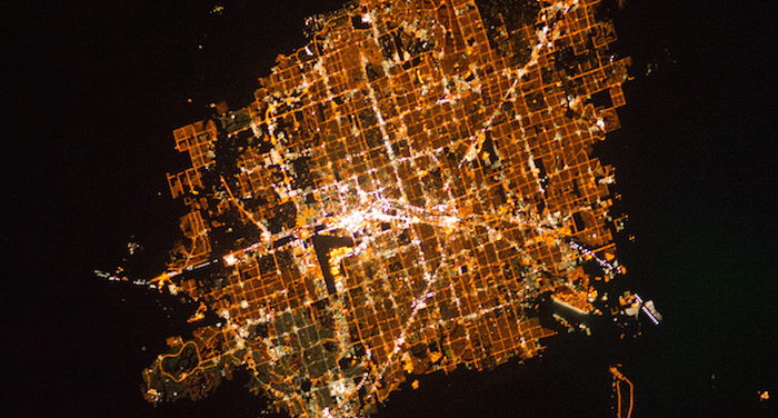 A satellite image of Las Vegas showing a sea of lights.