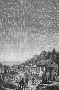 The most famous depiction of the famous 1833 Leonids Meteor Storm. The engraving, by Adolf Vollmy, is based upon an original painting by the Swiss artist Karl Jauslin.