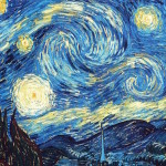 The Starry Night painted in 1889 by Vincent van Gogh.
