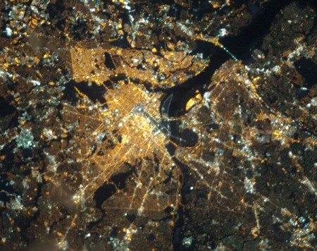 Satellite photo of Washington, D.C. at night showing all the lights.