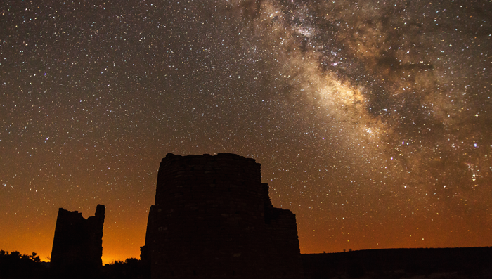 The Milky Way rises over Ancestral Puebloan ruins at Hovenweep National Monument, USA. Photo by Jacob W. Frank.