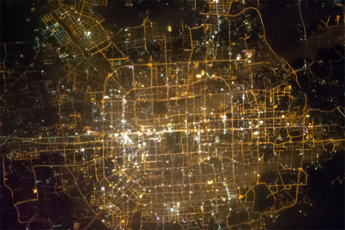 A nighttime image of Beijing, China, obtained by astronauts aboard the International Space Station. NASA photo.