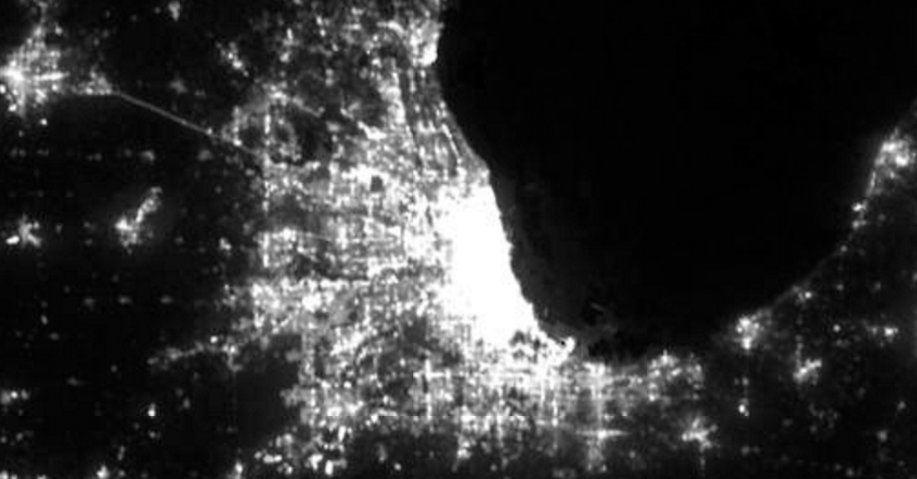 Nighttime lights of the greater Chicago, U.S., area seen by the VIIRS instrument aboard the Suomi NPP satellite in 2015. NOAA photo.