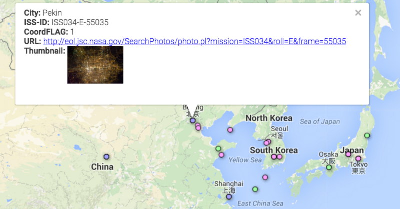 An example of the map interface of the Cities At Night project, showing the record for an image of Beijing, China at night. Cities at Night photo.