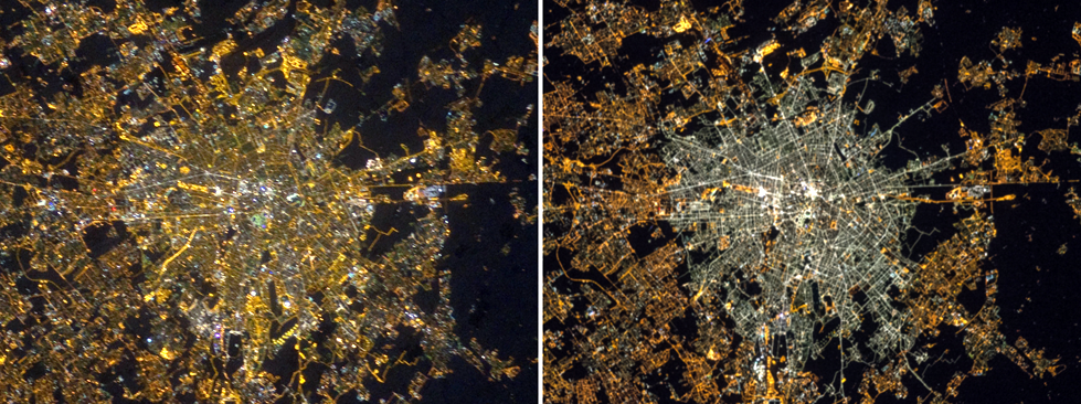 Images of the city of Milan, Italy, at night in 2012 (left) and 2015 (right), taken by astronauts aboard the International Space Station. NASA photo.