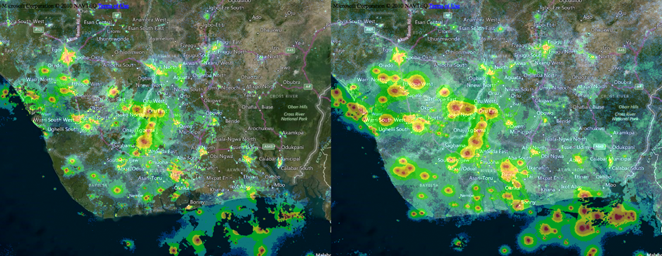 Night light data from the Niger River delta in 2012 (left) and 2015 (right). Lightpollution.info photo.