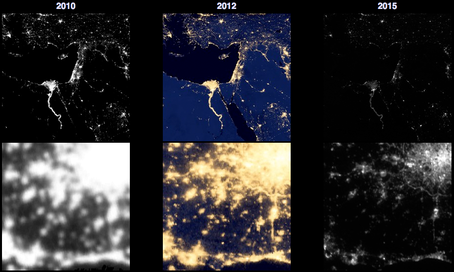 A series of map cutouts from the Blue Marble website illustrating the resolution and scale of images taken in 2010, 2012 and 2015.