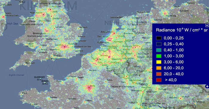 2015 night light data from the VIIRS instrument aboard the Suomi NPP satellite overlaid on a map of northwestern Europe. Photo from Lightpollution.info.