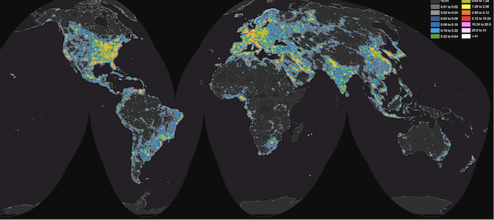 80% of World Potion Lives Under Skyglow, New Study Finds Dark Sky Map on dark souls 2 map, messier sky map, ada map, light pollution map, winter sky map,