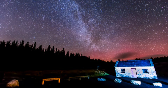 The Milky Way rises over the Letterkeen bothy in the Wild Nephin Wilderness. Photo by Stephen Hanley