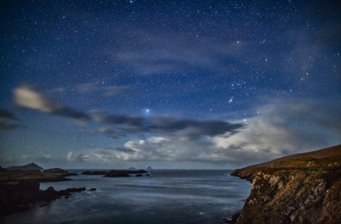 Night sky over the Skellig Islands, Ireland. Photo by Peter Cox