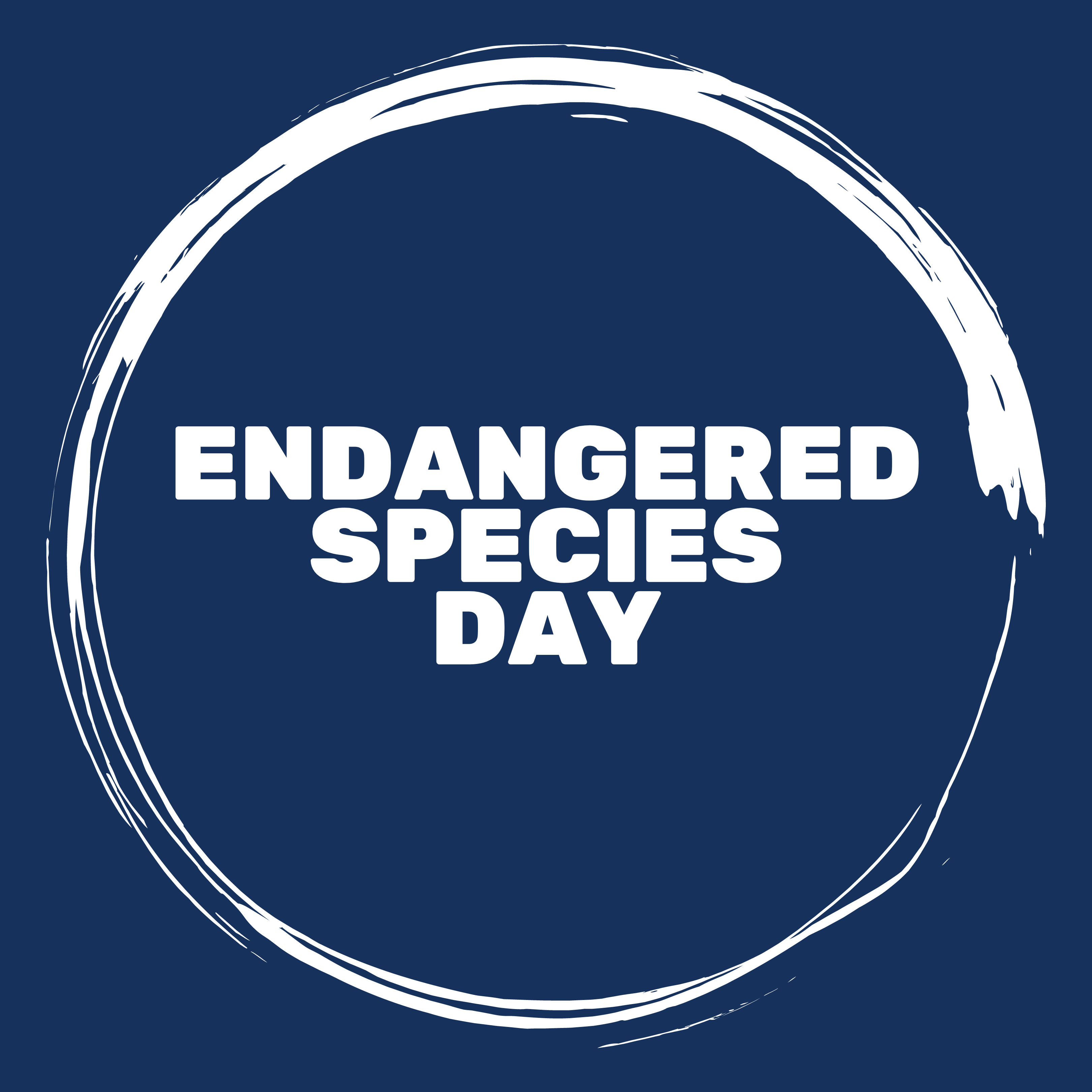 White text that reads endangered species day in all caps surrounded by a white circle on a dark blue background.